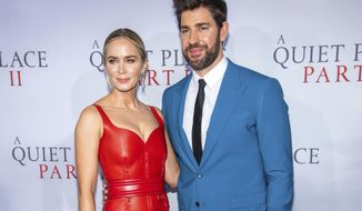 "Emily Blunt and John Krasinski attend the world premiere of Paramount Pictures' ""A Quiet Place Part II"" at Jazz at Lincoln Center's Frederick P. Rose Hall on Sunday, March 8, 2020, in New York. (Photo by Charles Sykes/Invision/AP)"