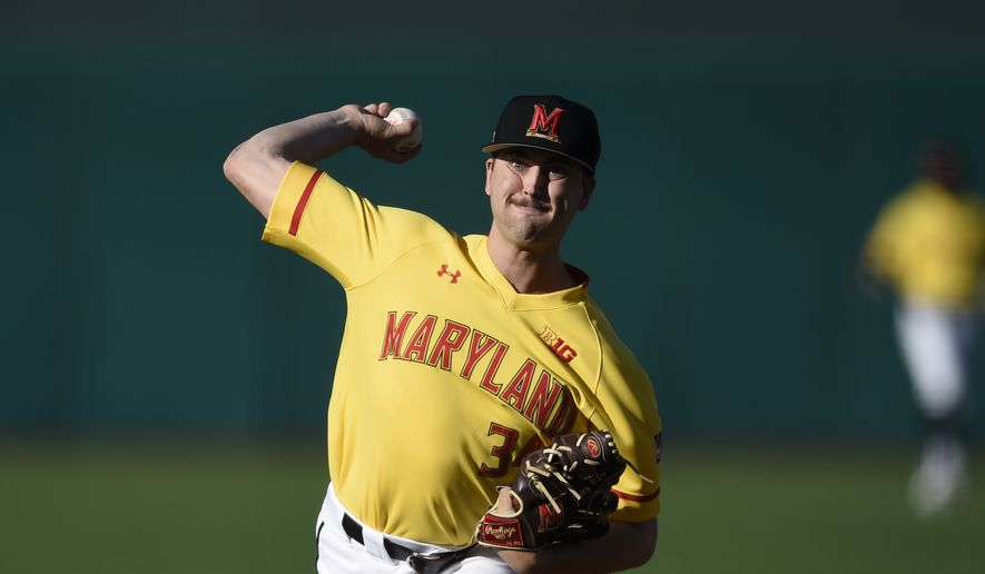 Maryland's Zach Thompson pitches during an NCAA baseball game on Wednesday, March 4, 2020, in College Park, Md. (AP Photo/Gail Burton) ** FILE **
