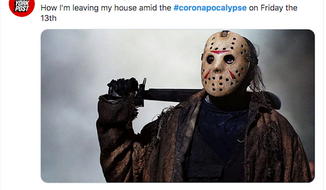 It is not easy to spell, but it appears to fit the moods of the nation at the moment. #Coronapocalypse is leading the national trends on Twitter, besting even #Friday13 as the favorite social media reference of the day. (Image grab from Washington Times, via Twitter(