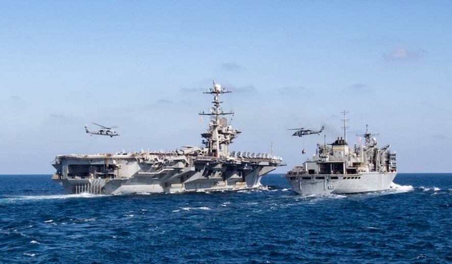 """U.S. Central Command is well postured to defend our forces around the region and to respond to any further aggression against our forces,"" the combatant command tweeted March 13, 2020. The remark comes in conjunction with the USS Dwight D. Eisenhower and the USS Harry S. Truman conduct operations in the Middle East. (Image: Twitter, U.S. Central Command)"
