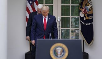 President Donald Trump arrives with Vice President Mike Pence to a news conference about the coronavirus in the Rose Garden of the White House, Friday, March 13, 2020, in Washington. (AP Photo/Evan Vucci)
