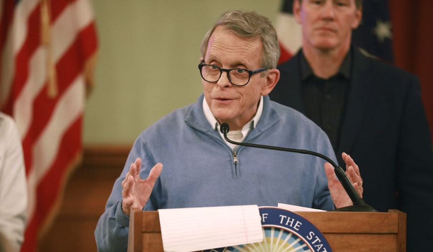 Ohio Gov. Mike DeWine at a coronavirus news conference Saturday, March 14, 2020 at the Ohio Statehouse in Columbus. (Doral Chenoweth/The Columbus Dispatch via AP)