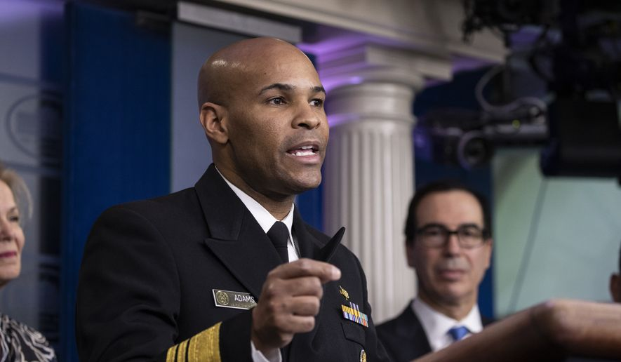 U.S. Surgeon General Jerome Adams speaks during a news conference about the coronavirus in the James Brady Briefing Room at the White House, Saturday, March 14, 2020, in Washington. (AP Photo/Alex Brandon)