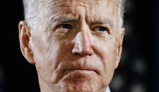 Democratic presidential candidate former Vice President Joe Biden speaks about the coronavirus Thursday, March 12, 2020, in Wilmington, Del. (AP Photo/Matt Rourke) **FILE**