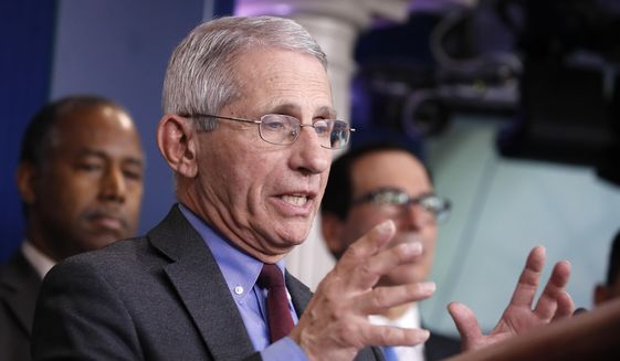 Dr. Anthony Fauci, director of the National Institute of Allergy and Infectious Diseases, speaks during a briefing on coronavirus in the Brady press briefing room at the White House, Saturday, March 14, 2020, in Washington. (AP Photo/Alex Brandon)