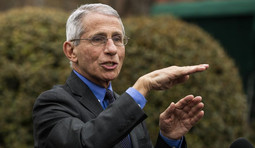 Director of the National Institute of Allergy and Infectious Diseases at the National Institutes of Health Dr. Anthony Fauci talks to reporters on the North Lawn outside the West Wing at the White House, Thursday, March 12, 2020, in Washington. (AP Photo/Manuel Balce Ceneta)