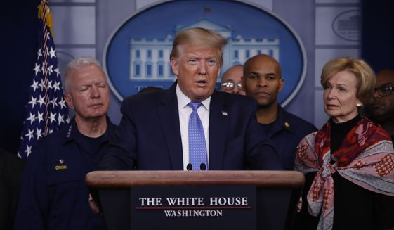 President Donald Trump speaks during a briefing about the coronavirus in the James Brady Press Briefing Room of the White House, Sunday, March 15, 2020, in Washington. (AP Photo/Alex Brandon)