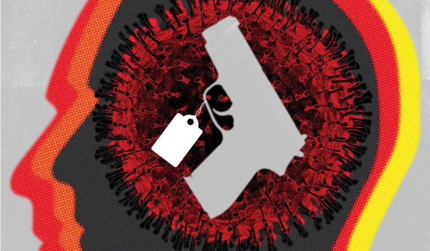 Illustration on coronavirus fears and gun purchases by Linas Garsys/The Washington Times