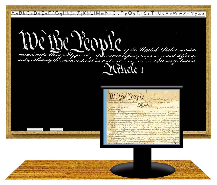 Illustration on the opportunity for education on the Constitution by Alexander Hunter/The Washington Times