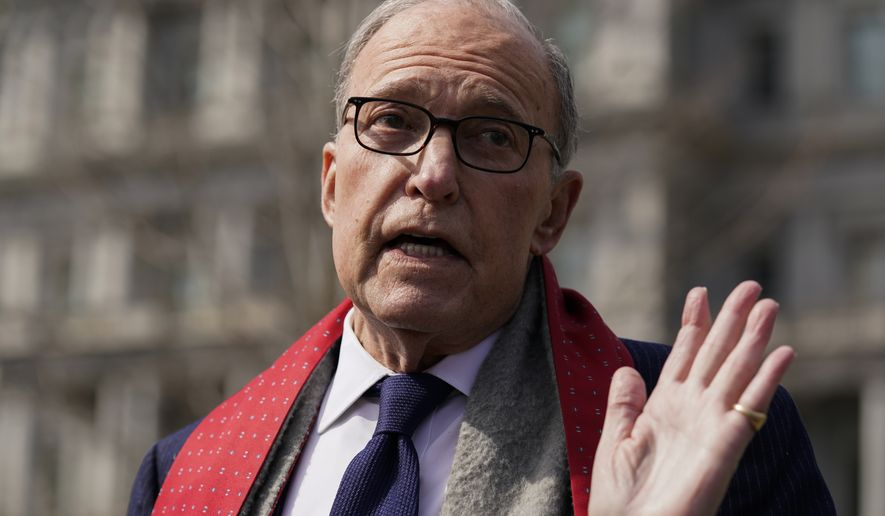 White House chief economic adviser Larry Kudlow talks to reporters about the economic impact of the coronavirus, at the White House, Monday, March 16, 2020, in Washington. (AP Photo/Evan Vucci) **FILE**