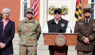 Maryland Gov. Larry Hogan announces an order to close bars, restaurants, gyms and move theaters in the state in response to coronavirus during a news conference at the governor's mansion on Monday, March 16, 2020 in Annapolis, Md. From left is Deputy Health Secretary Fran Phillips, Maj. Gen. Timothy Gowen, the adjutant general of the Maryland National Guard, Hogan, and Superintendent of the Maryland State Police Woodrow Jones. (AP Photo/Brian Witte)