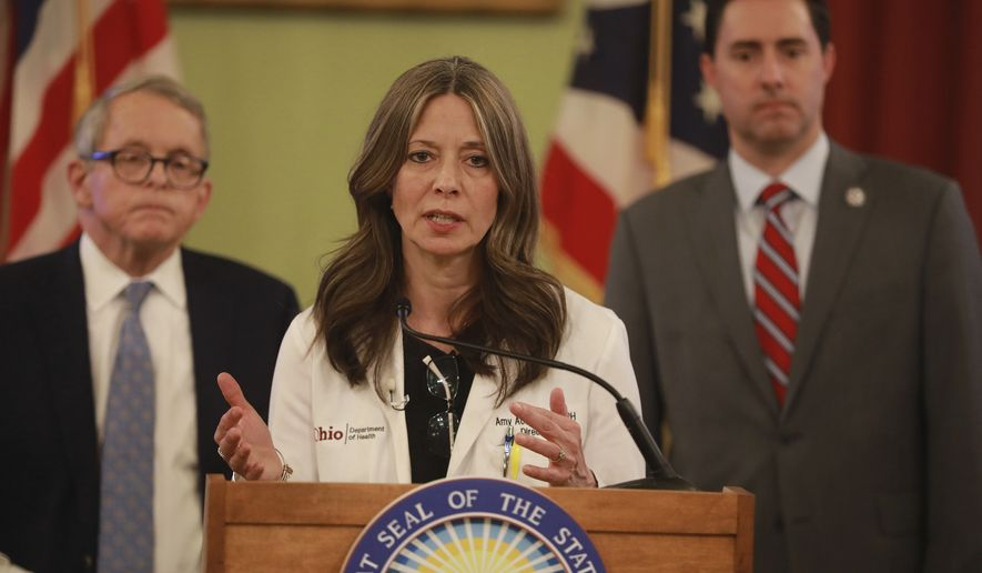 Ohio Department of Health director Dr. Amy Acton speaks at a news conference about the coronavirus Saturday, March 14, 2020 at the Ohio Statehouse. Behind her is Ohio Gov. Mike DeWine (left) and Secretary of State Frank LaRose. (Doral Chenoweth/The Columbus Dispatch via AP)