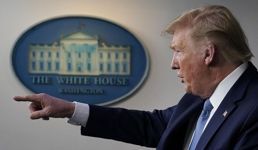 President Donald Trump speaks during a press briefing with the coronavirus task force, in the Brady press briefing room at the White House, Monday, March 16, 2020, in Washington. (AP Photo/Evan Vucci)