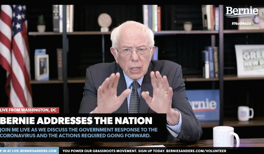 In this image from video provided by BernieSanders.com, Democratic presidential candidate Sen. Bernie Sanders, I-Vt., speaks from Washington, Tuesday, March 17, 2020. (Senate Television via AP) **FILE**