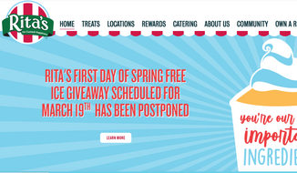 Screen capture from the website for Rita's Italian Ice, taken March 17, 2020. The chain announced on March 16 that it was postponing its previously scheduled March 19 Italian-ice giveaway. (https://www.ritasice.com/)