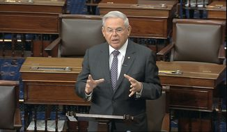 In this image from video, Sen. Robert Menendez, D-N.J., speaks on the Senate floor at the U.S. Capitol in Washington, Tuesday, March 17, 2020. (Senate Television via AP) ** FILE **