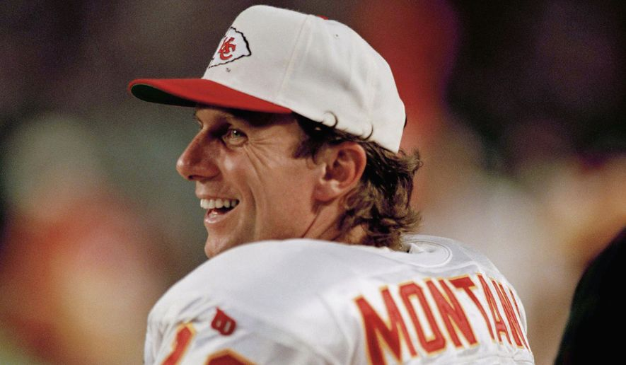 FILE - In this Dec. 12, 1994 file photo Kansas City Chief's quarterback Joe Montana watches from the sidelines during an NFL football game against the Miami Dolphins. Tom Bradys departure from the New England Patriots on Tuesday, March 17, 2020 brings an end to one of the NFLs most memorable eras. Joe Montana was in some ways a previous generations version of Brady  an iconic quarterback who was calm under pressure and always seemed to have his team in contention for a championship. He won four Super Bowl titles with San Francisco, but after elbow problems limited him for a couple seasons, the 49ers traded Montana to Kansas City. The Chiefs had Montana for two seasons and reached the AFC title game with him once. (AP Photo/Han Deryk, file)