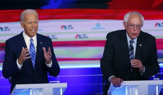 In this June 27, 2019, file photo, Democratic presidential candidates, former Vice President Joe Biden and Sen. Bernie Sanders, I-Vt., speak at the same time during the Democratic primary debate hosted by NBC News at the Adrienne Arsht Center for the Performing Arts in Miami. What might be the final showdown between the two very different Democratic candidates takes place Tuesday, March 17, 2020, during Florida's presidential primary. (AP Photo/Wilfredo Lee, File)  **FILE**