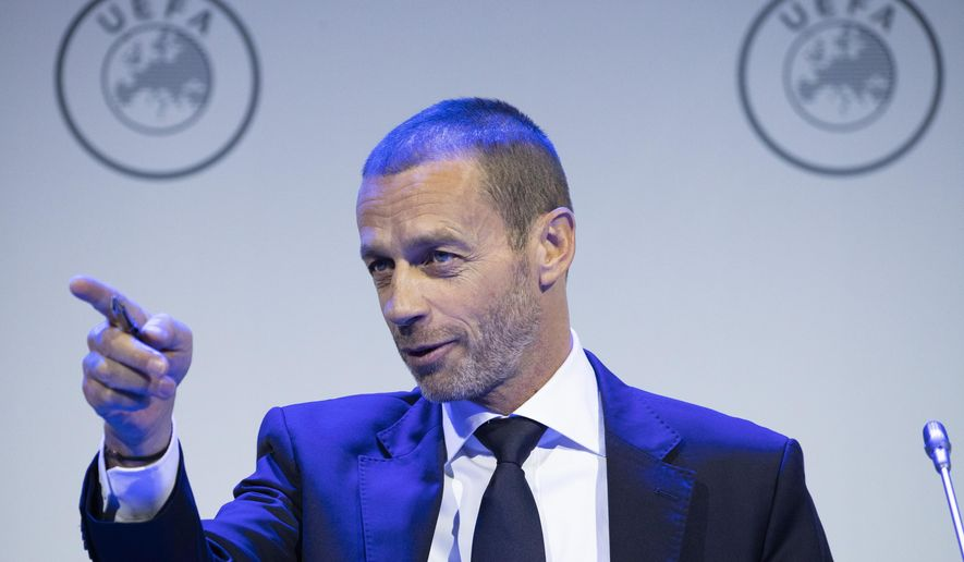 UEFA President Aleskander Ceferin gestures during a meeting of European soccer leaders at the congress of the UEFA governing body in Amsterdam's Beurs van Berlage, Netherlands, Tuesday, March 3, 2020. (AP Photo/Peter Dejong)