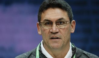 Washington Redskins head coach Ron Rivera speaks during a press conference at the NFL football scouting combine in Indianapolis, Wednesday, Feb. 26, 2020. (AP Photo/Charlie Neibergall) ** FILE **