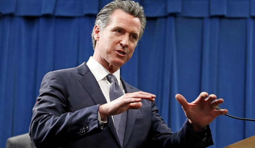 FILE - In this March 12, 2020 file photo, California Gov. Gavin Newsom speaks to reporters about his executive order advising that non-essential gatherings of more than 250 people should be canceled until at least the end of March, during a news conference in Sacramento, Calif. Newsom, a Democrat who leads the nation's most populous state, has won praise from both sides of the aisle for his approach to the coronavirus crisis that has been less aggressive than some governors and even many local leaders. (AP Photo/Rich Pedroncelli, File)
