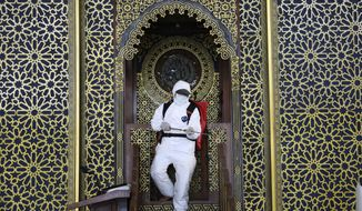 A worker sprays disinfectant at Al Akbar mosque amid fears of coronavirus outbreak in Surabaya, East Java, Indonesia, Tuesday, March 17, 2020. For most people, the new coronavirus causes only mild or moderate symptoms. For some, especially older adults it can cause more severe illness. (AP Photo/Trisnadi)