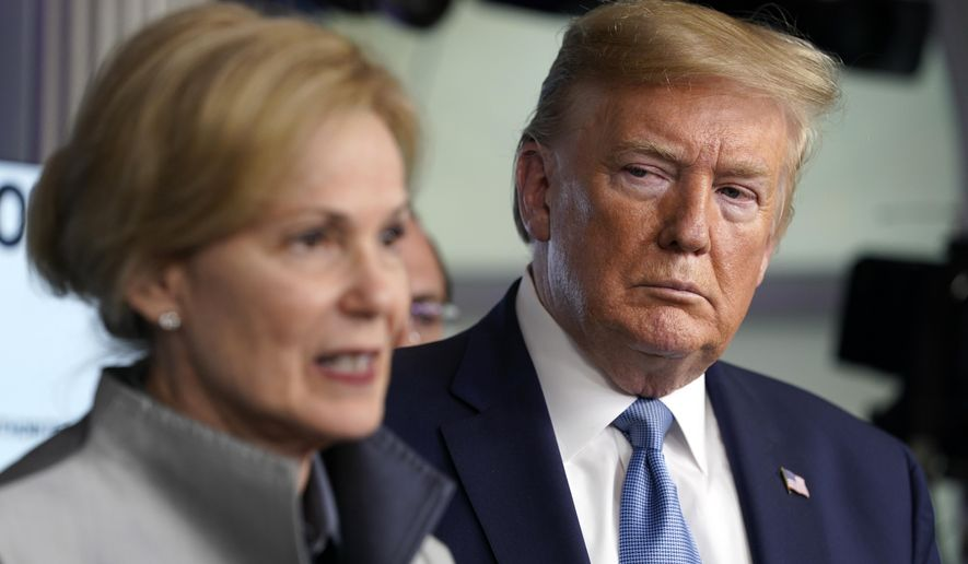 President Donald Trump listens as Dr. Deborah Birx, White House coronavirus response coordinator, speaks during a press briefing with the coronavirus task force, in the Brady press briefing room at the White House, Monday, March 16, 2020, in Washington. (AP Photo/Evan Vucci)