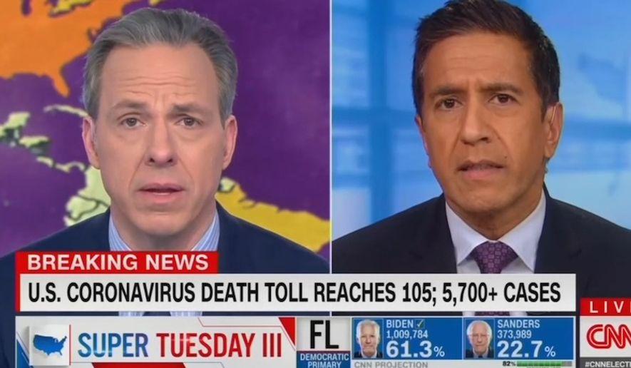 CNN's Jake Tapper discusses the coronavirus, March 17, 2020. (Image: CNN video screenshot)