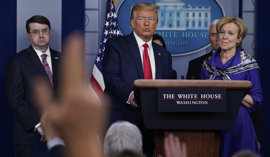 President Donald Trump takes questions during press briefing with the Coronavirus Task Force, at the White House, Wednesday, March 18, 2020, in Washington. (AP Photo/Evan Vucci)