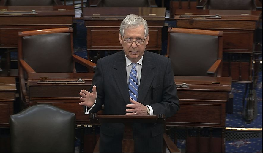 In this image from video, Senate Majority Leader Mitch McConnell, R-Ky., speaks on the Senate floor at the U.S. Capitol in Washington, Wednesday, March 18, 2020, after the Senate passed a coronavirus response bill, sending it to President Donald Trump to sign. McConnell also told Senators that the Senate will remain in session. (Senate Television via AP)