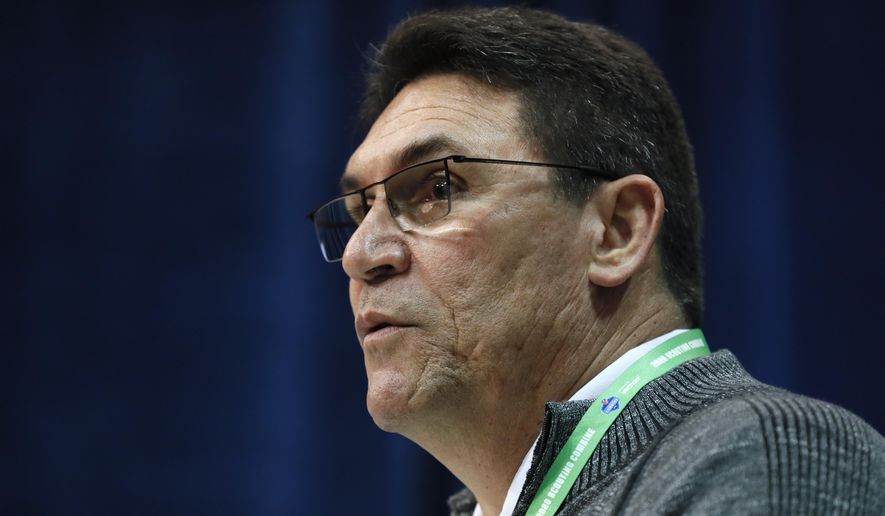 Washington Redskins head coach Ron Rivera speaks during a press conference at the NFL football scouting combine in Indianapolis, Wednesday, Feb. 26, 2020. (AP Photo/Charlie Neibergall)