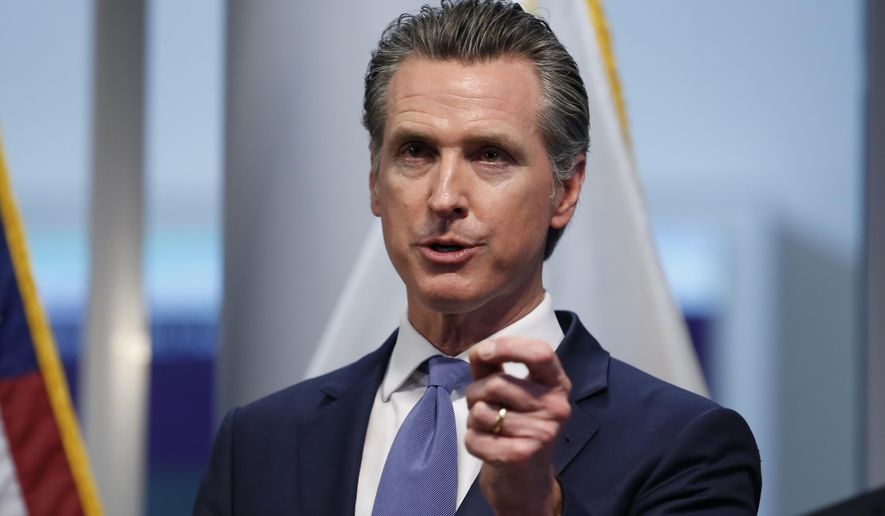 California Gov. Gavin Newsom updates the state's response to the coronavirus, at the Governor's Office of Emergency Services in Rancho Cordova Calif., Tuesday, March 17, 2020. (AP Photo/Rich Pedroncelli, Pool)