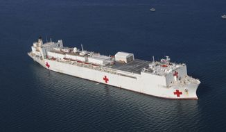 In this Jan. 20, 2010 file photo, the Military Sealift Command hospital ship USNS Comfort is anchored off the coast of Haiti  to support Operation Unified Response. On Wednesday, March, 18, 2020, President Donald Trump announced he will dispatch the Comfort to the New York City Harbor to provide New York City hospitals with relieve in taking on the COVID-19 virus. (U.S. Navy photo by Petty Officer 2nd Class Chelsea Kennedy/Released)