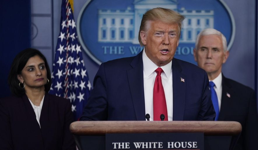 President Donald Trump speaks during press briefing with the Coronavirus Task Force, at the White House, Wednesday, March 18, 2020, in Washington. Administrator of the Centers for Medicare and Medicaid Services Seema Verma is at left, Vice President Mike Pence is at right. (AP Photo/Evan Vucci)