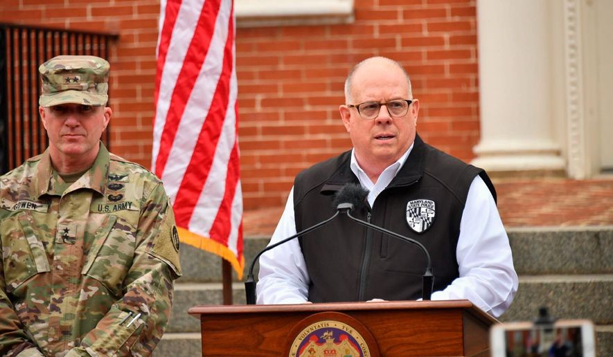 Maryland Gov. Larry Hogan urged people to only use transit for essential travel during a press conference Thursday. Mr. Hogan also ordered all shopping malls and entertainment venues closed, starting at 5 p.m. (Associated Press)