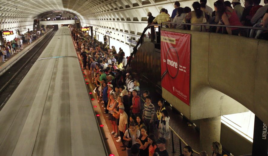 The Smithsonian Metro stop is overflowing with people leaving the National Cherry Blossom Festival in Washington, on Saturday, April 3, 2010. (AP Photo/Jacquelyn Martin) **FILE**