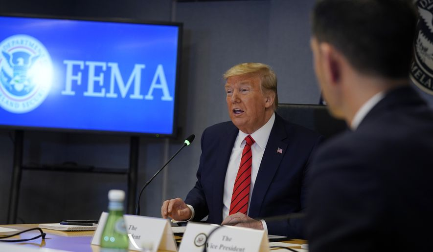 President Donald Trump speaks during a teleconference with governors at the Federal Emergency Management Agency headquarters, Thursday, March 19, 2020, in Washington. (AP Photo/Evan Vucci, Pool)