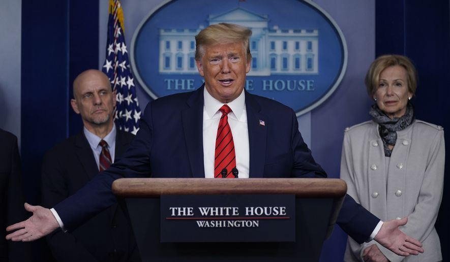 President Donald Trump speaks during press briefing with the coronavirus task force, at the White House, Thursday, March 19, 2020, in Washington. Food and Drug Administration Commissioner Dr. Stephen Hahn, at left, and Dr. Deborah Birx, White House coronavirus response coordinator, at right listen. (AP Photo/Evan Vucci)