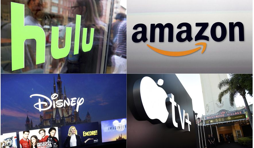 "This combination photo shows, clockwise from top left, the Hulu logo on a window at the Milk Studios space in New York, the Amazon logo in Santa Monica, Calif., the Apple TV+ logo displayed outside the Regency Village Theatre in Los Angeles before the premiere of the the Apple TV+ series ""See,"" and a screen grab of the Disney Plus streaming service on a computer screen. (AP Photo)"