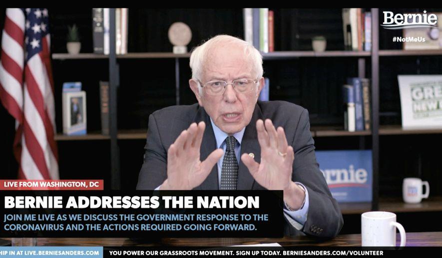 In this image from video provided by BernieSanders.com, Democratic presidential candidate Sen. Bernie Sanders, I-Vt., speaks from Washington, Tuesday, March 17, 2020.  (BernieSanders.com via AP) **FILE**