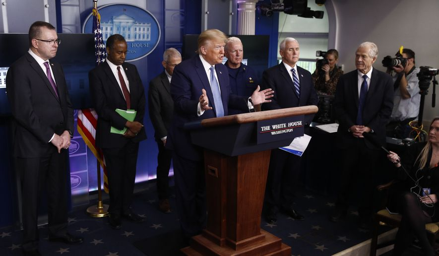 President Donald Trump speaks during a coronavirus task force briefing at the White House, Saturday, March 21, 2020, in Washington. (AP Photo/Patrick Semansky)