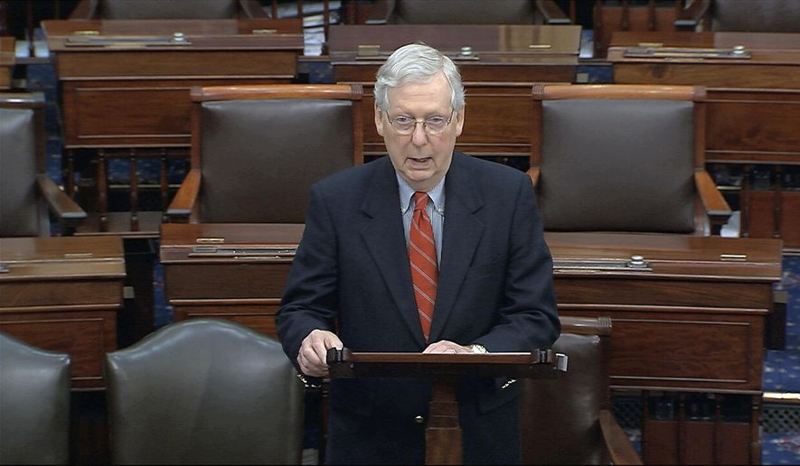 In this image from video, Senate Majority Leader Mitch McConnell, R-Ky., speaks on the Senate floor at the U.S. Capitol in Washington, Saturday, March 21, 2020. (Senate Television via AP)