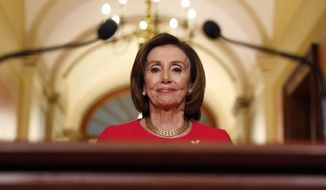 House Speaker Nancy Pelosi was the subject of one of two hashtags that trended after Democrats blocked a coronavirus relief package. (Associated Press) ** FILE **