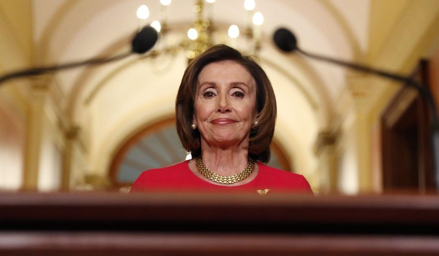 House Speaker Nancy Pelosi was the subject of one of two hashtags that trended after Democrats blocked a coronavirus relief package. (Associated Press)