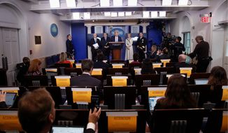 President Trump speaks about the coronavirus in the James Brady Briefing Room on Monday. The questions that reporters asked Mr. Trump about the pandemic illustrate bigger issues in the Fourth Estate. (Associated Press)