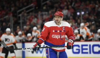 Washington Capitals left wing Alex Ovechkin (8), of Russia, stands on the ice during the first period of an NHL hockey game against the Philadelphia Flyers, Wednesday, March 4, 2020, in Washington. (AP Photo/Nick Wass)