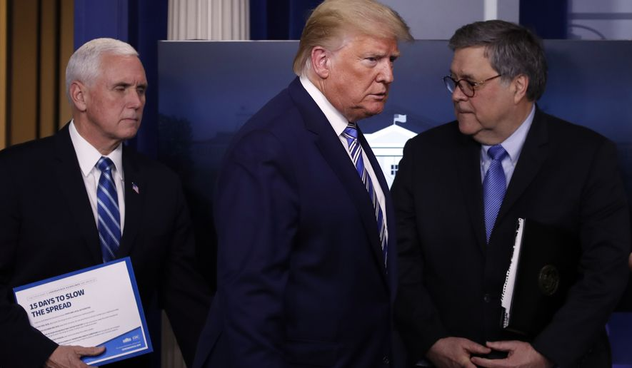 President Donald Trump arrives with Vice President Mike Pence and Attorney General William Barr to speak about the coronavirus in the James Brady Briefing Room, Monday, March 23, 2020, in Washington. (AP Photo/Alex Brandon)