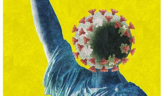 Illustration on surrendering freedoms during the pandemic by Alexander Hunter/The Washington Times