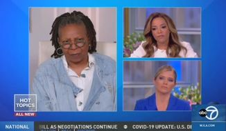 "Sunny Hostin (upper right) of ABC's ""The View"" offers a conspiracy theory as to why President Trump says he would love for Americans back to work by Easter if possible,  March 24, 2020. (Image: ABC, ""The View"" video screenshot)"