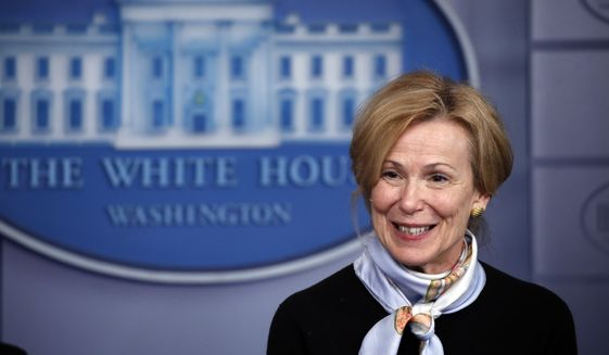 Dr. Deborah Birx, White House coronavirus response coordinator, speaks about the coronavirus in the James Brady Briefing Room, Tuesday, March 24, 2020, in Washington. (AP Photo/Alex Brandon)